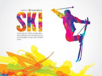 Diseño colorido de esquí