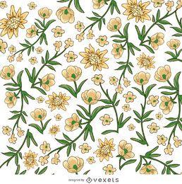 Patrón de flor amarilla y blanca.