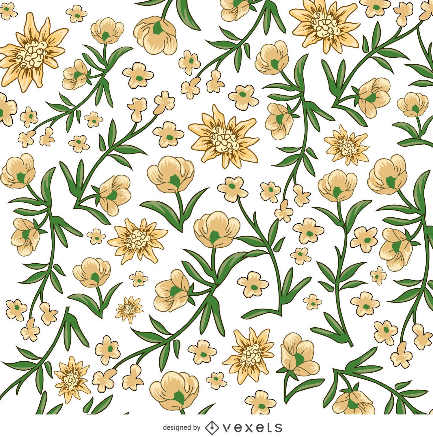Padrão de flor amarela e branca