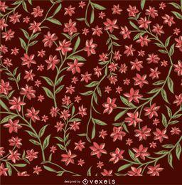 Fundo marrom e vermelho floral