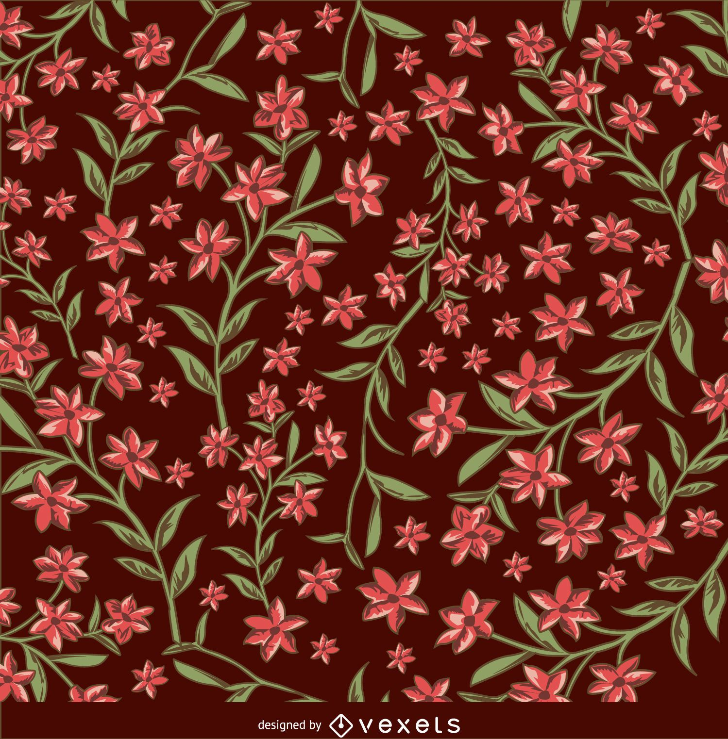 Floral brown and red background
