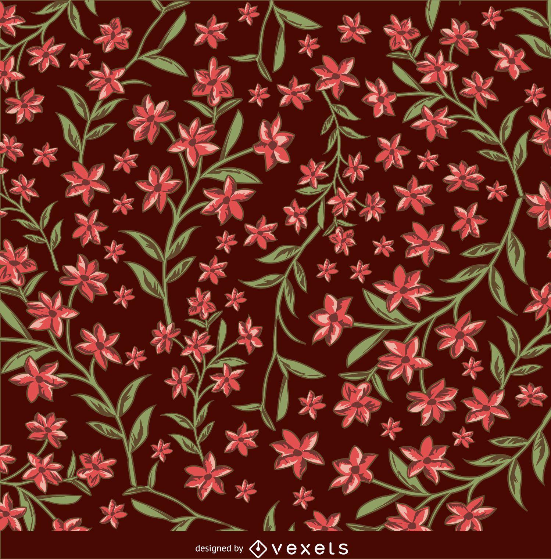 Fondo floral marrón y rojo