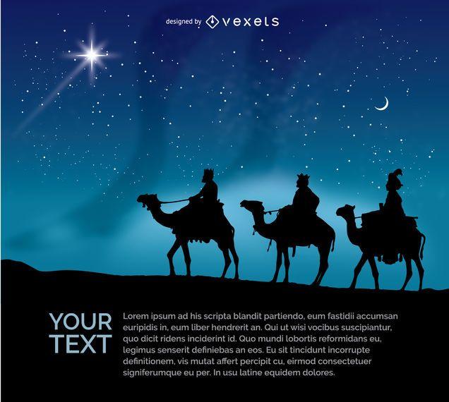 Los tres hombres sabios montando sus camellos en la noche.
