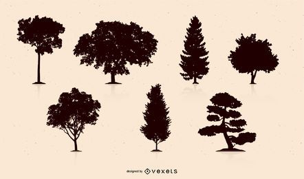 Colección de silueta de árbol