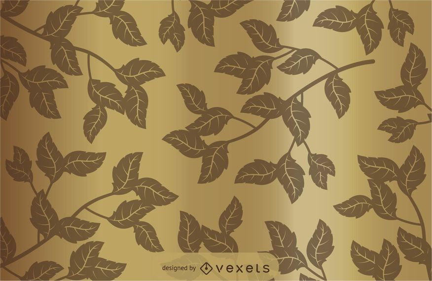 Golden floral background with flowers