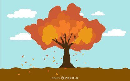 Árbol de otoño en el viento