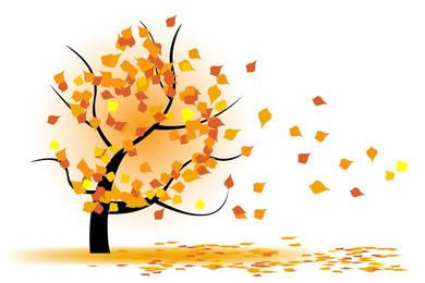 Árvore do outono no vento