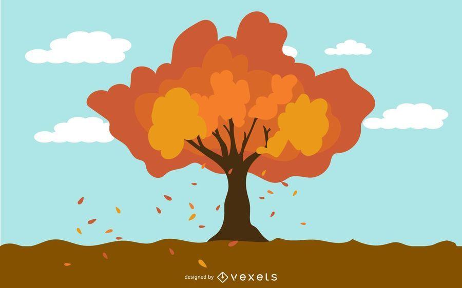 Autumn tree in wind