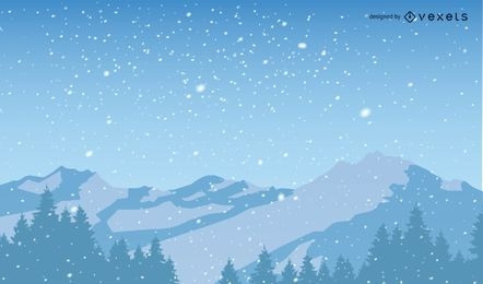 Snowy Christmas Mountains Background