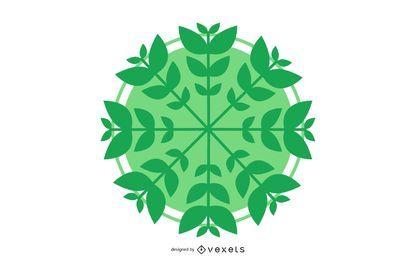 Círculo de vetor com folhas