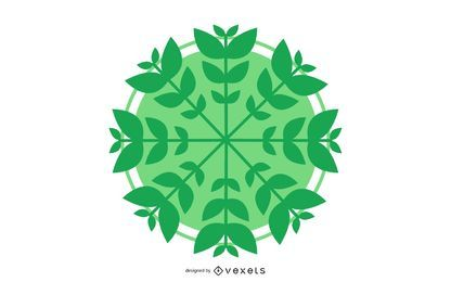 Vector Circle with Leaves