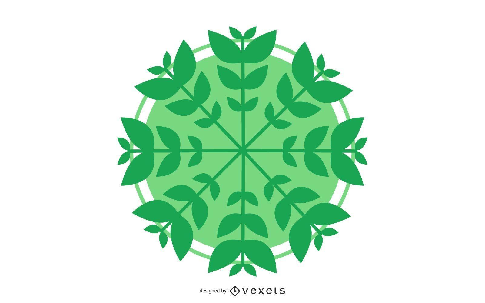 C?rculo de vector con hojas