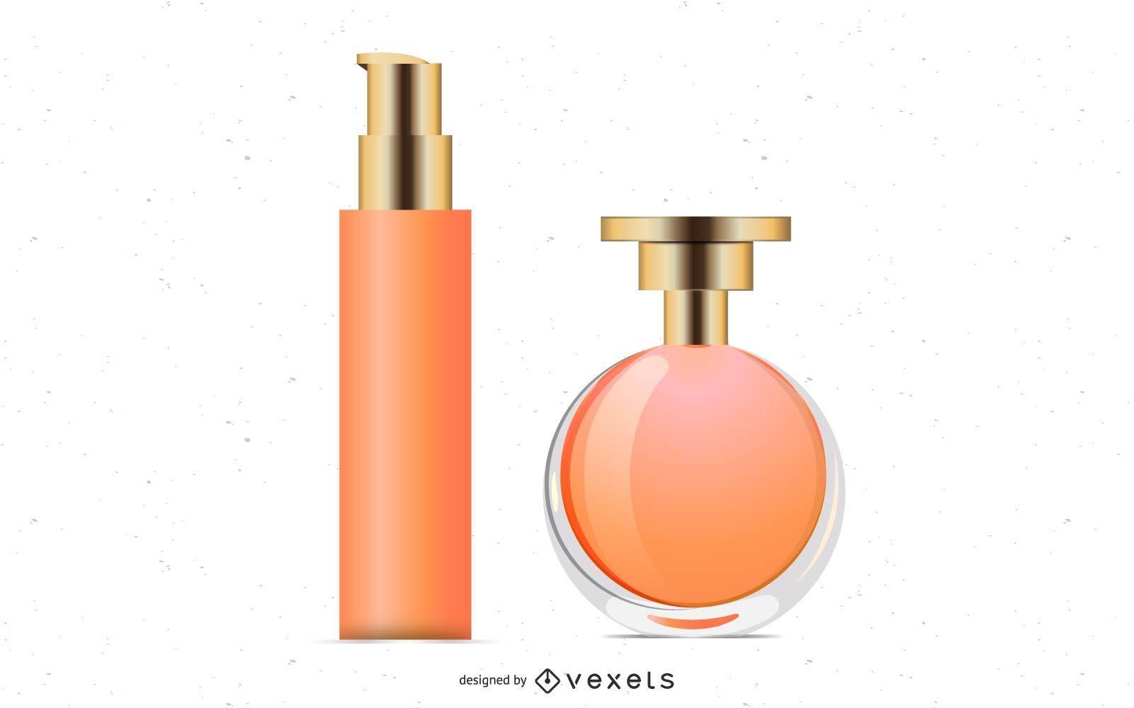 Frascos de perfume de vetor