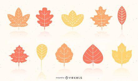 Siluetas de hojas con reflejo