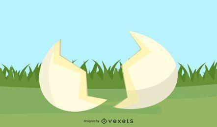 Huevo roto y hierba