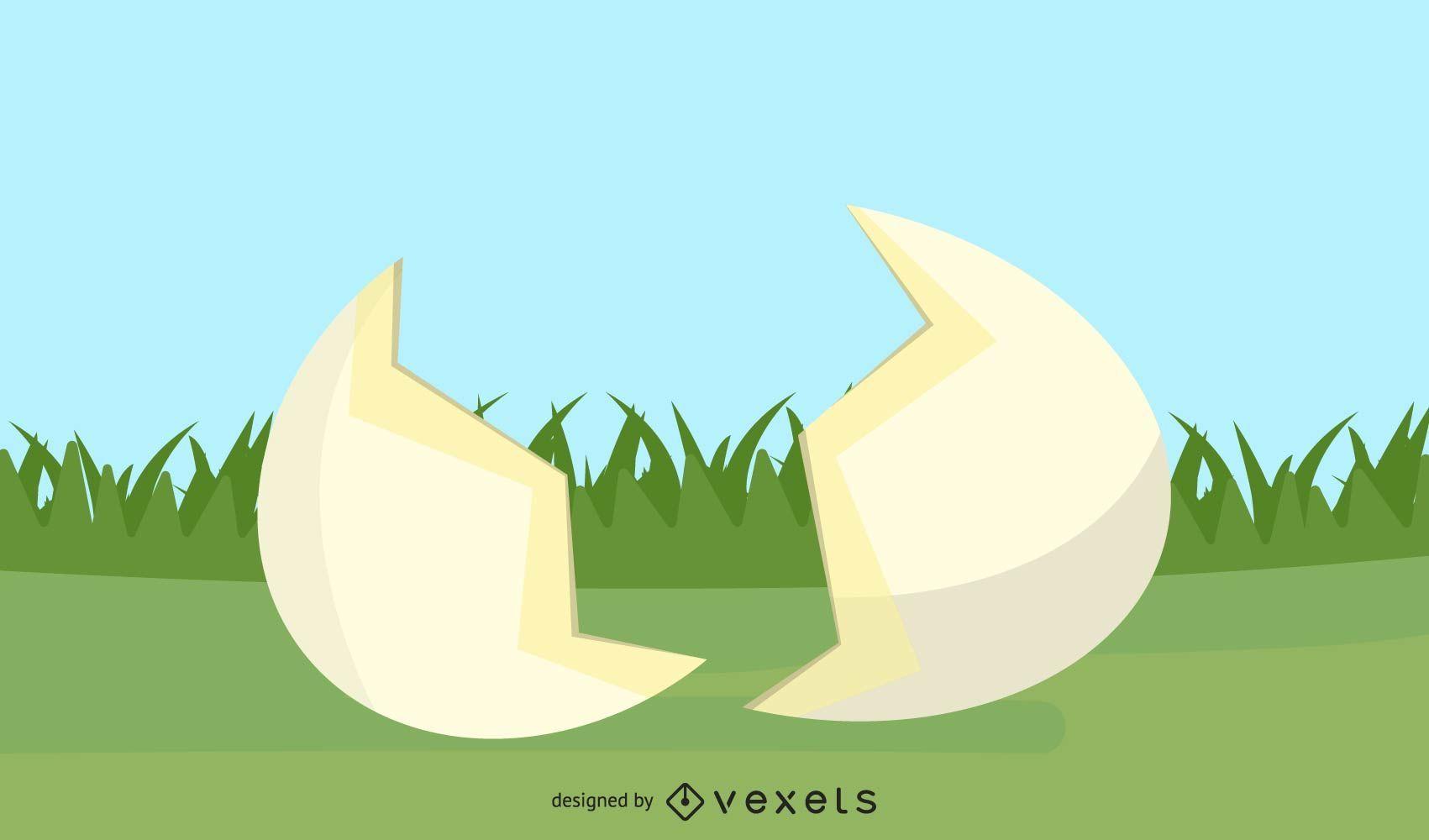 Huevo roto y pasto