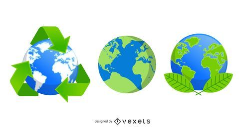 Recycle eco globe icons