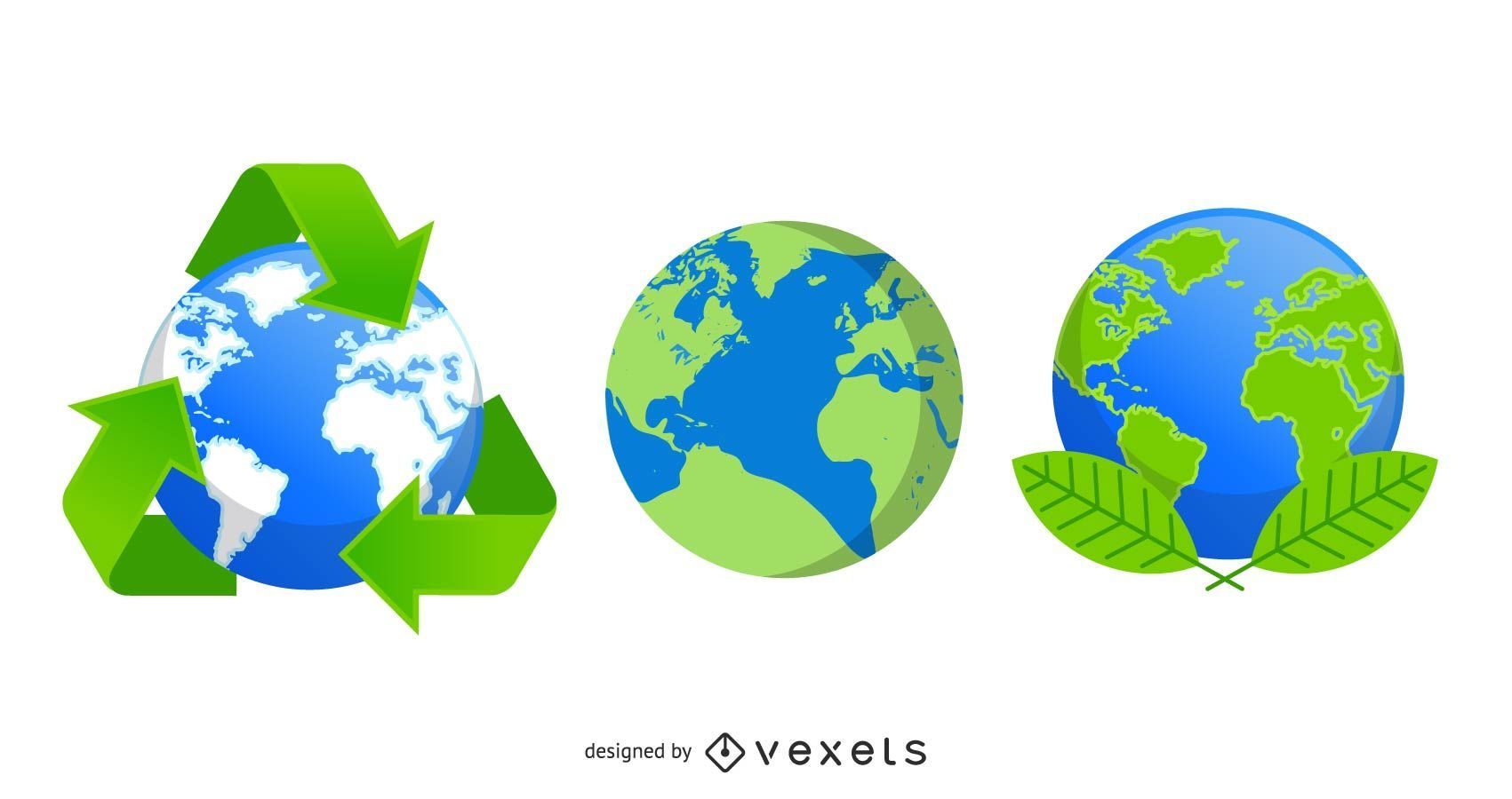 Recycle eco globe icons