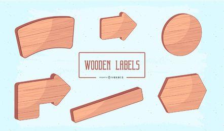 Etiquetas de madeira do vetor 3d