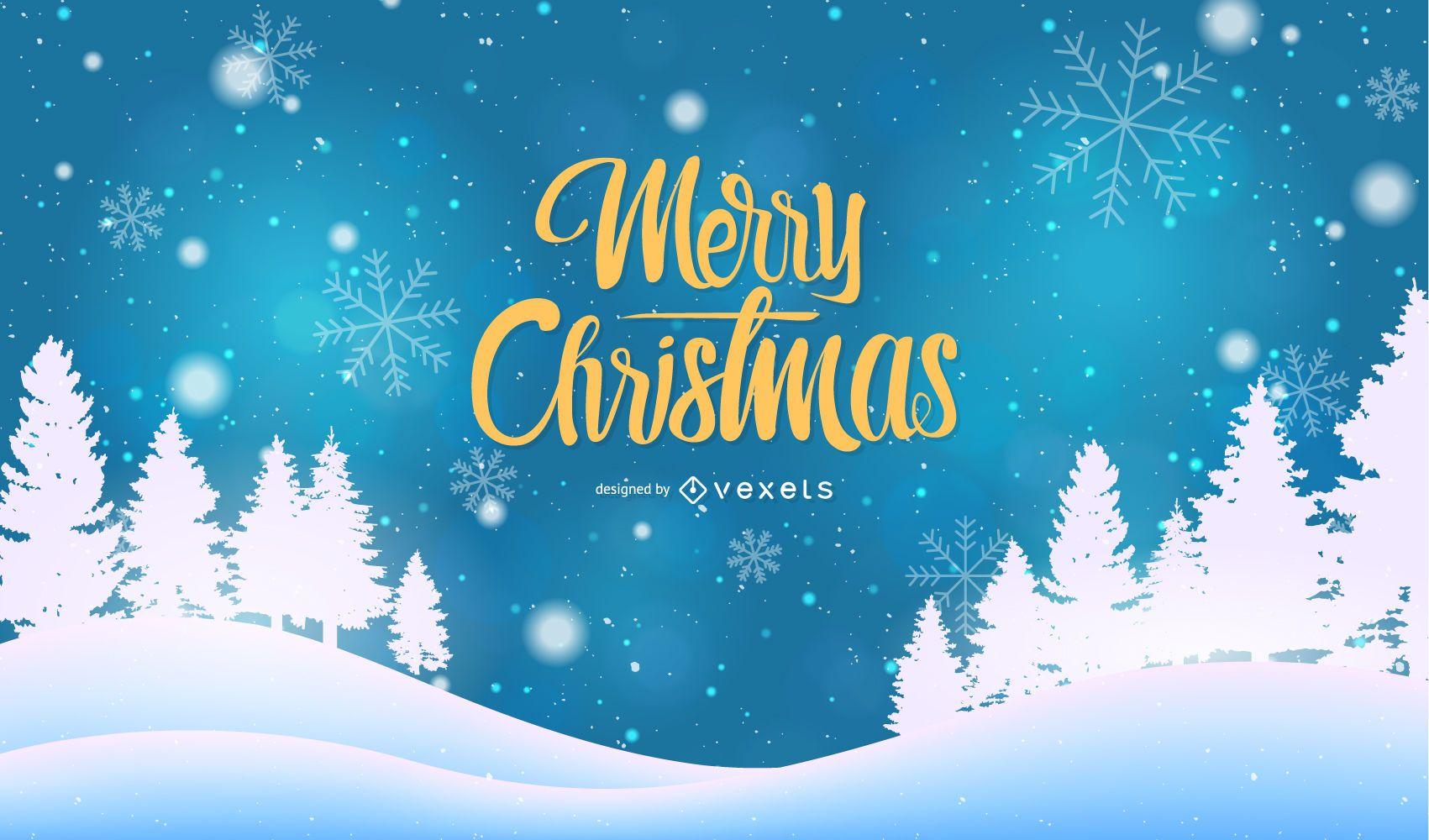 Blue Christmas Lettering Background