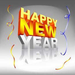 Feliz año nuevo texto de confeti