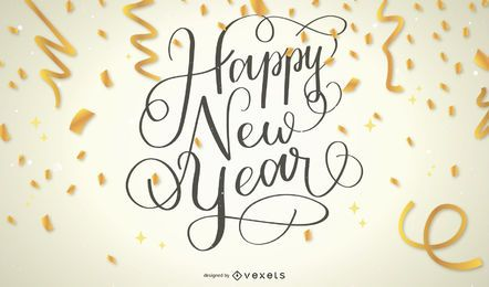 Happy New Year Confetti Text