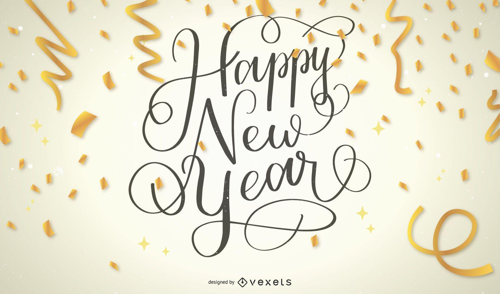 Texto de confete de feliz ano novo