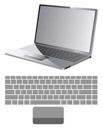 Vector laptop com o mapa de teclado