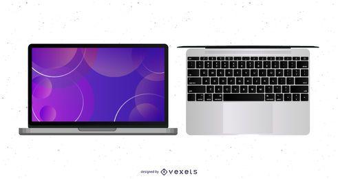 Vector portátil con teclado mapa