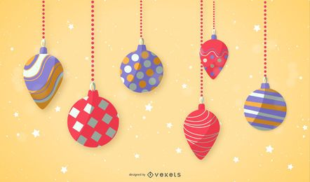 Flat Design Christmas Ornament Set