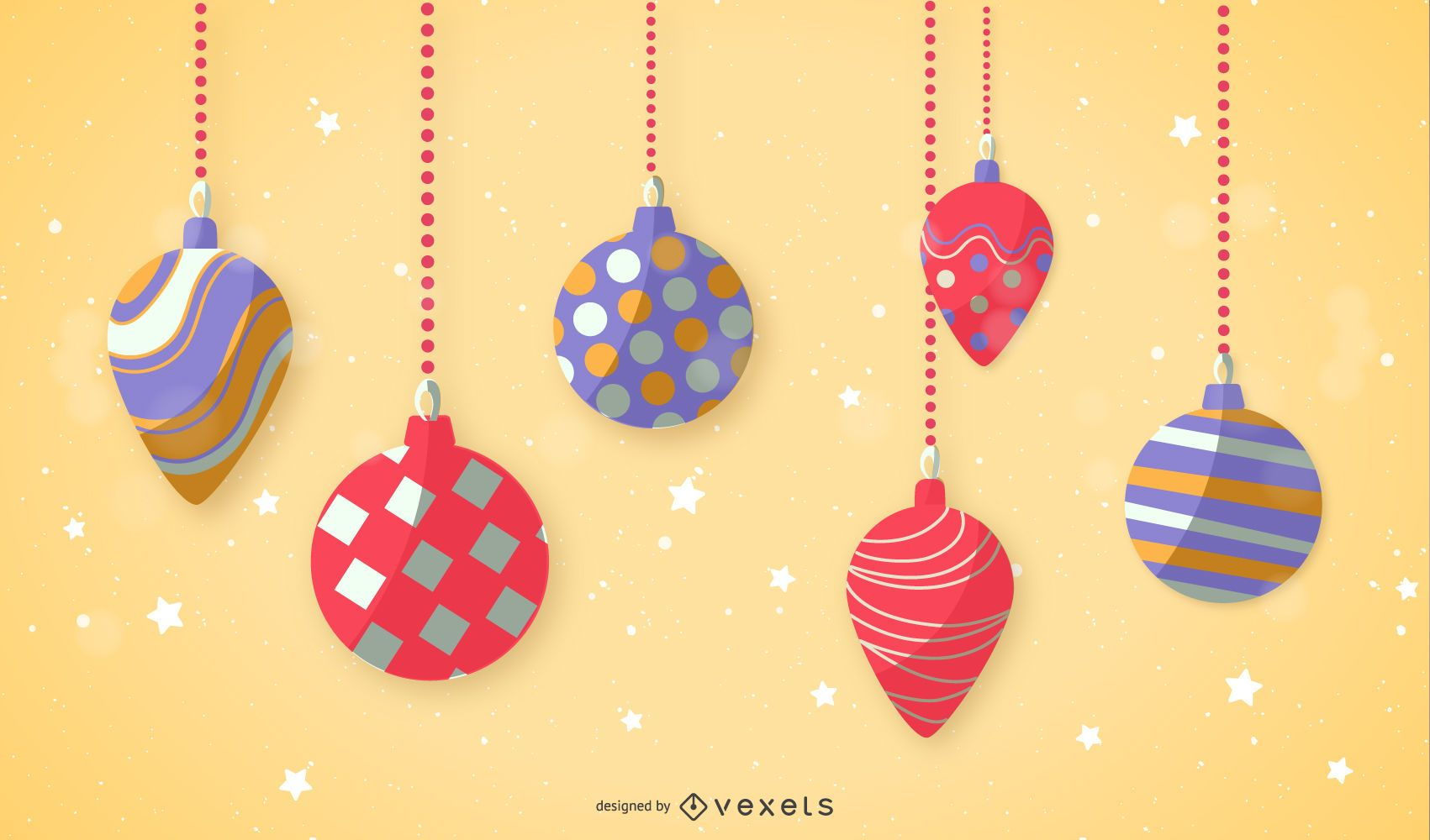 Flat Design Christmas Ornament Set