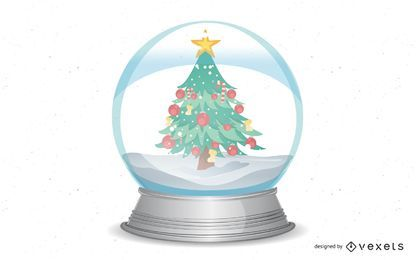 Christmas Snow Globe Vector Desgin