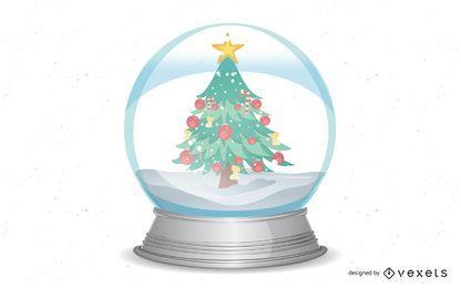 Navidad bola de nieve con árboles