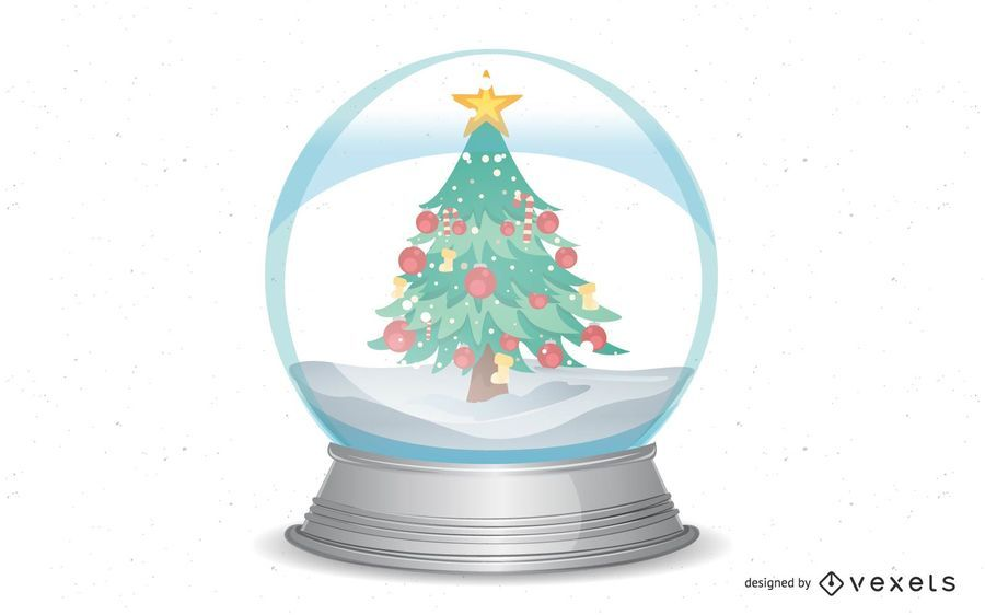 Christmas snow-globe with trees