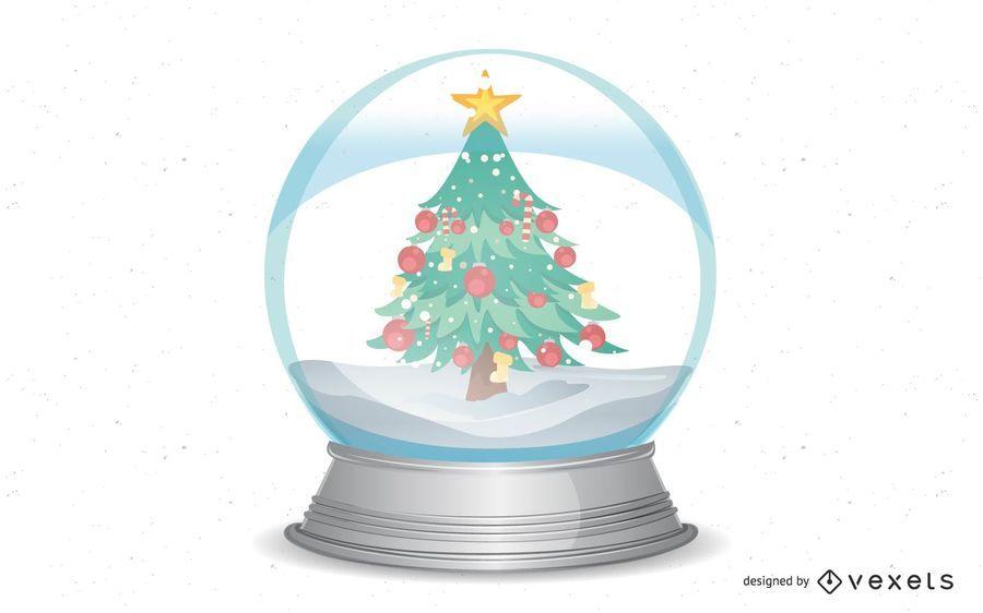 Globo de neve de Natal com árvores