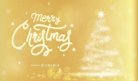 Merry Christmas Golden Background Design