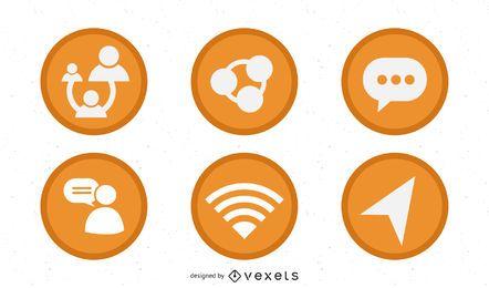 2d laranja web 2.0 ícones