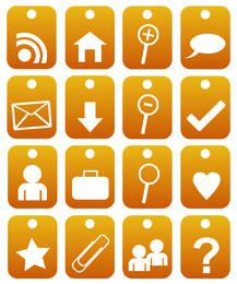 2d orange web 2.0 icons
