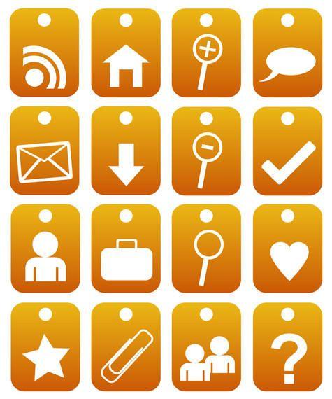 2d orange web 2.0 icons