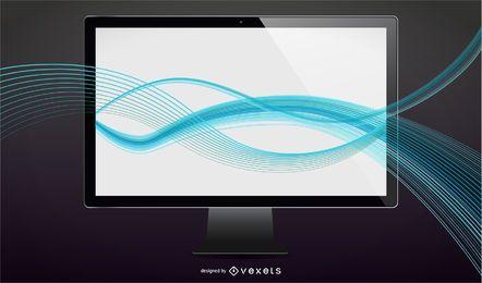Tv LCD de vector con ondas