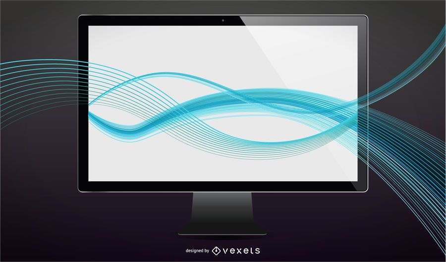 Vector LCD tv with waves