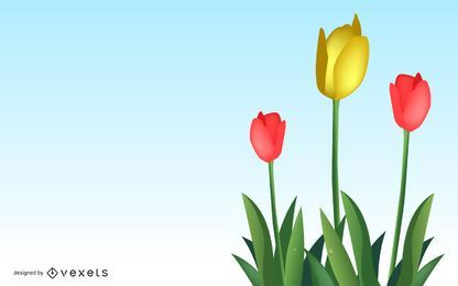 Beautiful vector tulips