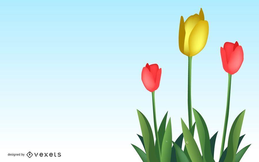Vector hermoso tulipanes