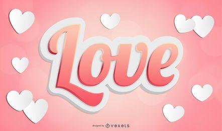 Texto de amor de vetor 3D