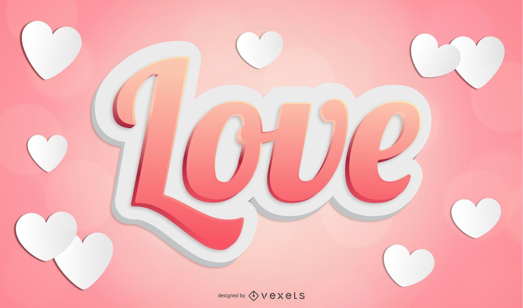 3d vector love text