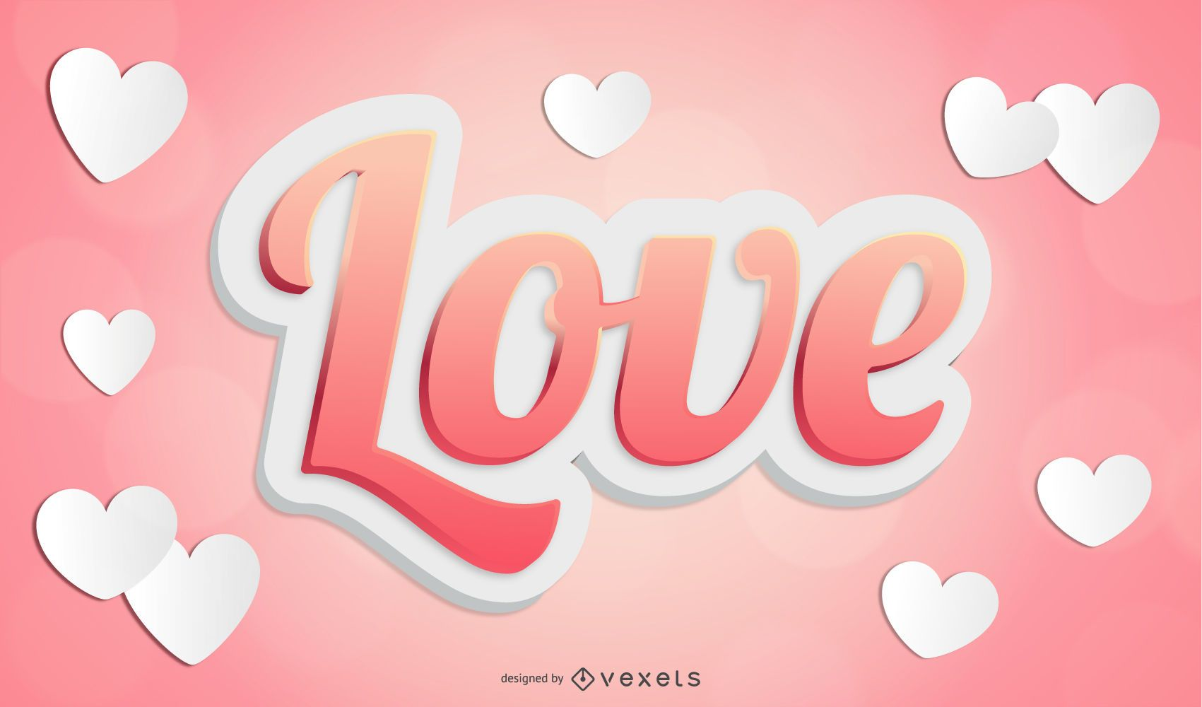 Texto de amor vector 3d