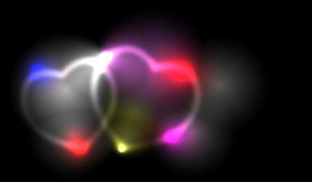 Dois, enfumaçado, vetorial, corações