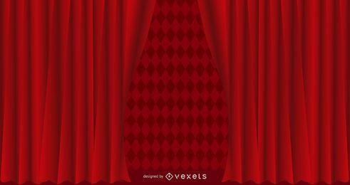 Fondo de cortina con textura roja