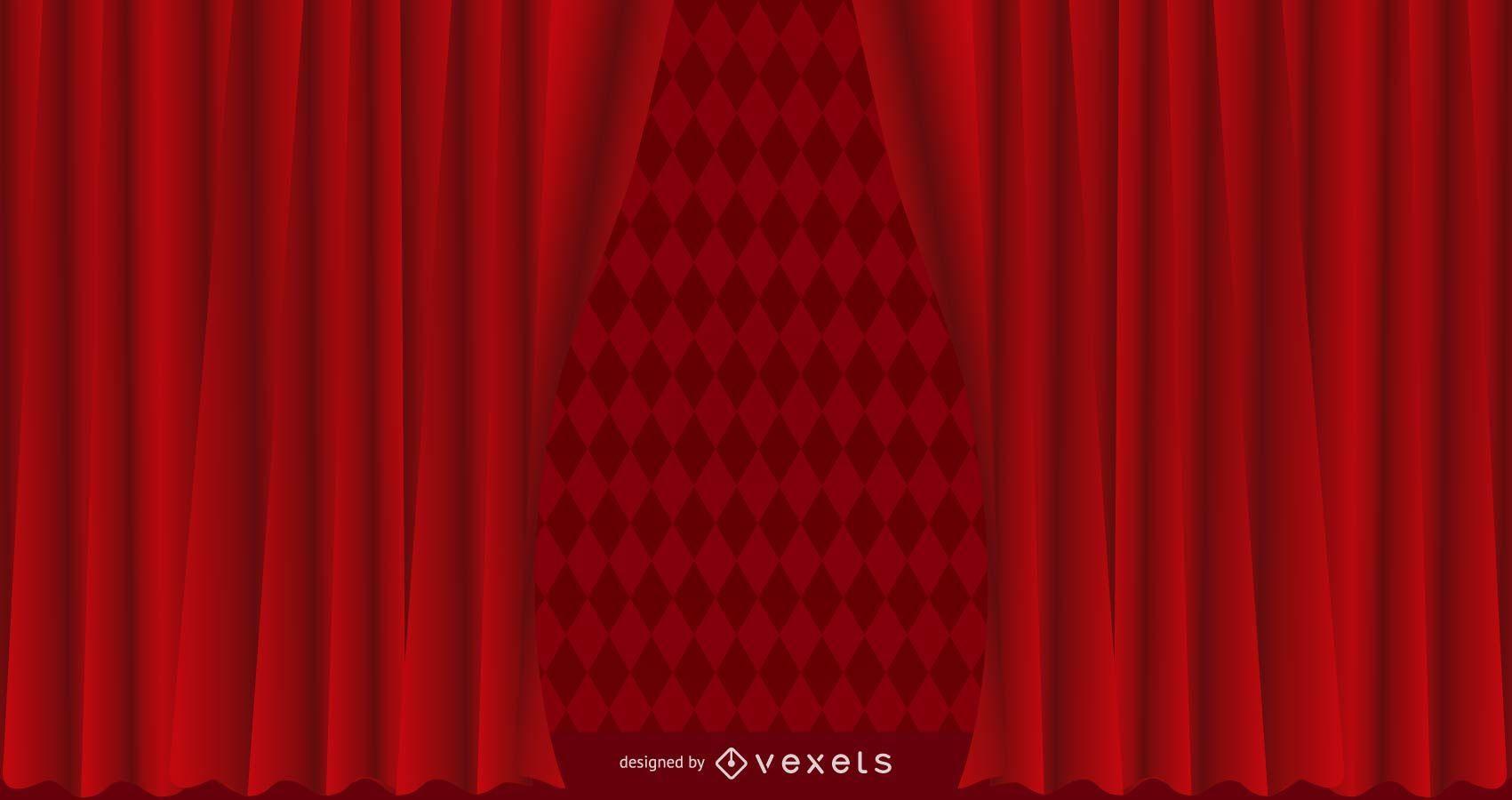 Fundo de cortina com textura vermelha