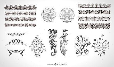 Elementos caligráficos y decoraciones de página.